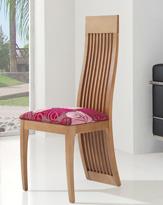 Silla de comedor tapizada 11 - Silla de madera tapizada para comedor respaldo completo barrotes verticales