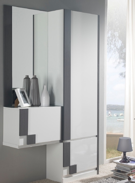 Armario zapatero blanco de melamina con espejo for Espejos largos modernos