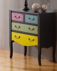 Cómoda de colores con cuatro cajones - Mueble fabricado en madera y acabado en bicolor.