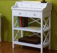 Escritorio blanco de madera - Mueble de madera lacado en blanco.