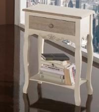 Cómoda pequeña con cajón único - Mueble fabricado en madera y acabado en bicolor.