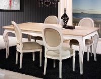 Silla tapizada vintage blanca - Silla fabricada en madera de haya lacada en blanco roto y tapizada en tela cruda.