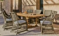 Set de comedor exterior extensible 1 - Mesa de madera con sillones