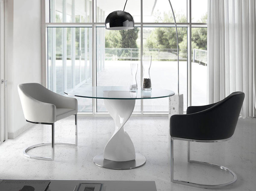 Mesa de comedor B065 - Mesa de comedor B065, Mesa de comedor con base en fibra de vidrio