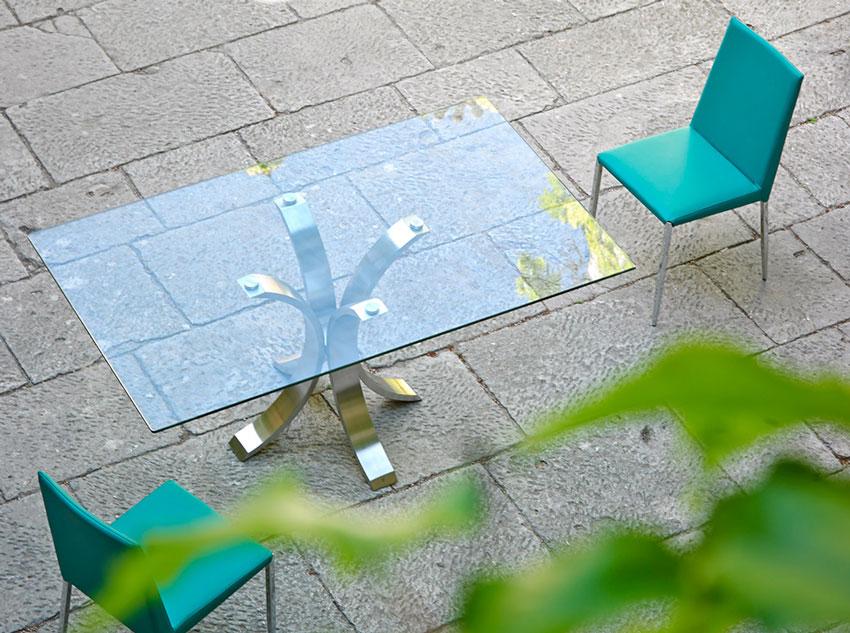 Mesa de comedor BZ2103 rectangular - Mesa de comedor BZ2103 rectangular, MESA DE COMEDOR CON BASE DE ACERO INOXIDABLE PULIDO