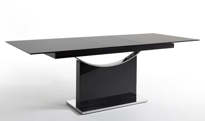 Mesa de lujo en cristal y base acero cromado for Mesa comedor cristal negro