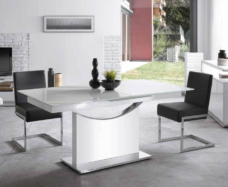 Mesa de lujo en cristal y base acero cromado - Mesas comedor cristal y acero ...