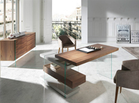 Escritorio Urban Deco 978OT - Escritorio de oficina en madera chapada de nogal con laterales de cristal templado y dos baldas de DM lacado