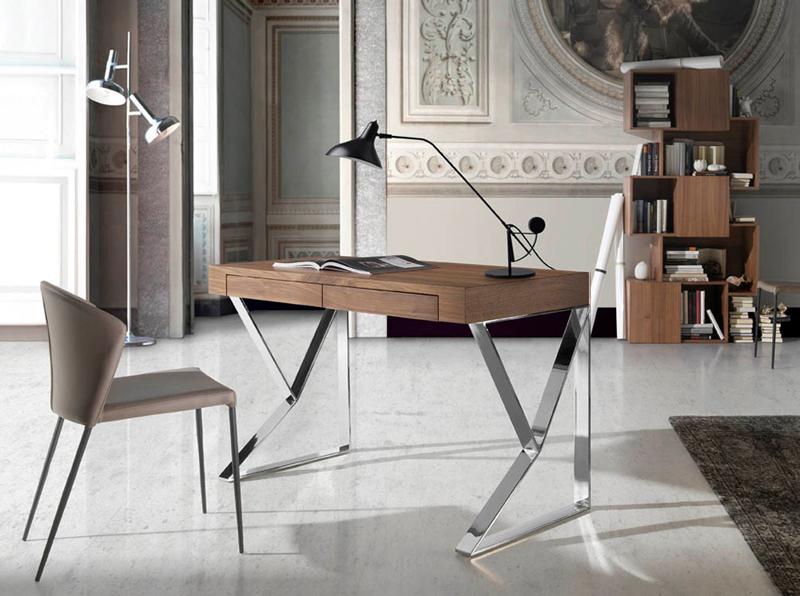 Escritorio Nature Life LE351 - Escritorio de oficina en madera chapada de nogal con patas de acero inoxidable