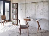 Escritorio Loft Tendencia W1010OT - Escritorio de oficina en madera chapada de nogal y tapa en DM lacado