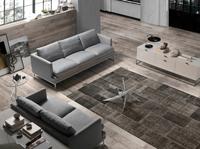Sofá tapizado 2 o 3 puestos MIRAGE - Sofás tapizados con patas de acero inoxidables