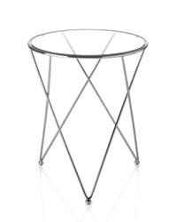 Mesa de rincón en acero cromado y tapa en cristal templado - Mesa de rincón en acero cromado y tapa en cristal templado