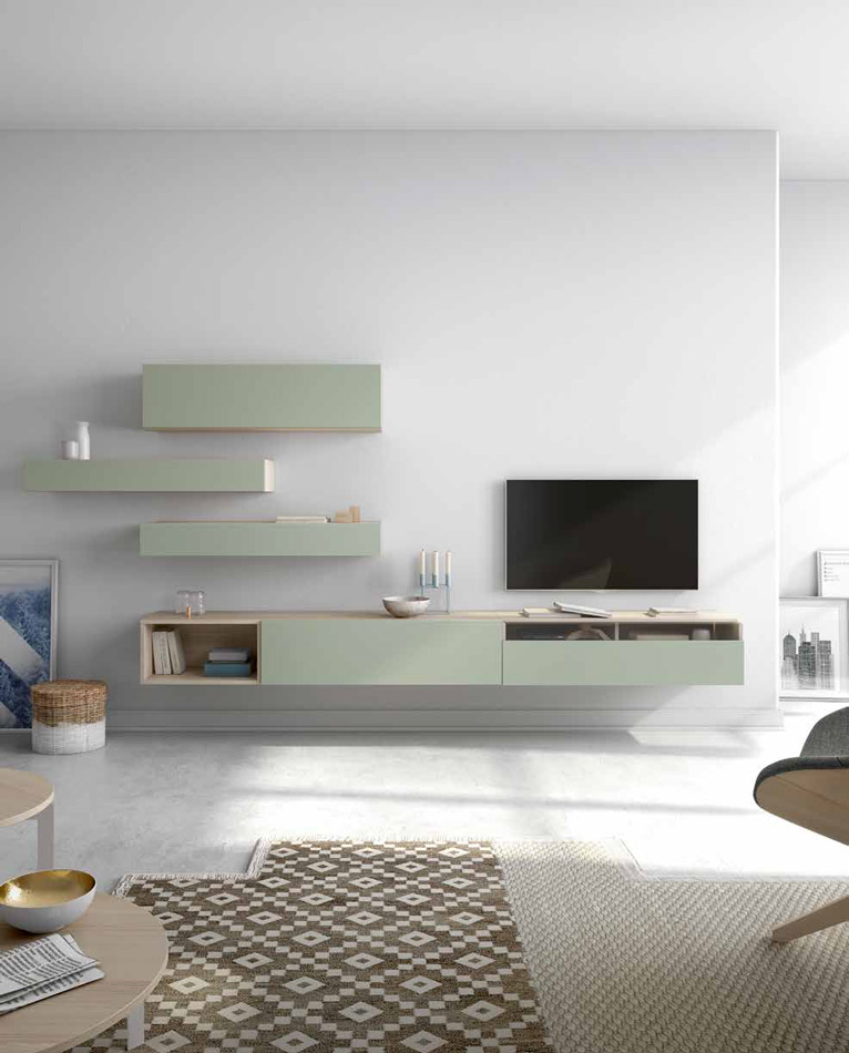 Moderno mueble de TV propuesta 40 - Moderno mueble de TV propuesta 40, fabricadas en DM y chapado en melamina con efecto natural o en terminaciones lacadas