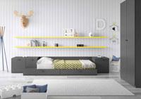 Dormitorio Origami Composición 1  - Dormitorio Origami Composición 1, Colección de mobiliario Juvenil