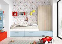 Dormitorio Origami Composición 17 - Dormitorio Origami Composición 17, Colección de mobiliario Juvenil