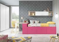 Dormitorio Origami Composición 33 - Dormitorio Origami Composición 33, Colección de mobiliario Juvenil