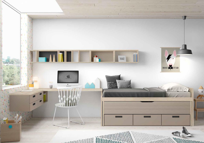 Dormitorio Origami Composición 34 - Dormitorio Origami Composición 34, Colección de mobiliario Juvenil