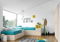 Dormitorio Origami Composición 4 - Dormitorio Origami Composición 4, Colección de mobiliario Juvenil
