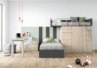 Dormitorio Origami Composición 40 - Dormitorio Origami Composición 40, Colección de mobiliario Juvenil