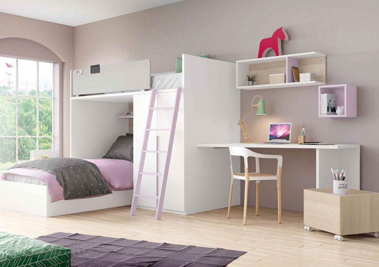 Dormitorio Origami Composición 42 - Dormitorio Origami Composición 42, Colección de mobiliario Juvenil