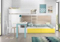 Dormitorio Origami Composición 43 - Dormitorio Origami Composición 43, Colección de mobiliario Juvenil