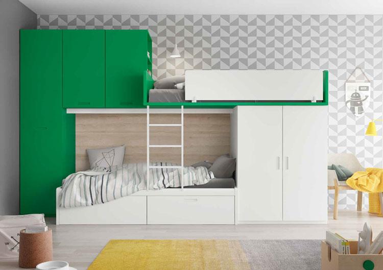 Dormitorio Origami Composición 45 - Dormitorio Origami Composición 45, Colección de mobiliario Juvenil
