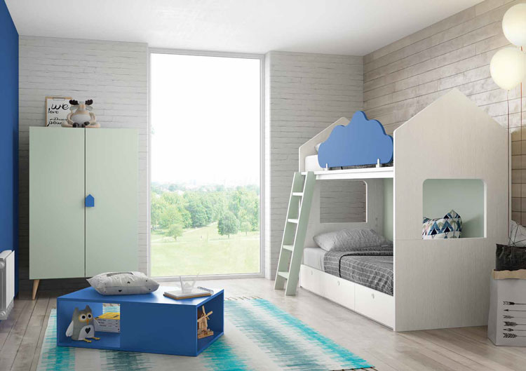 Dormitorio Origami Composición 47 - Dormitorio Origami Composición 47, Colección de mobiliario Juvenil