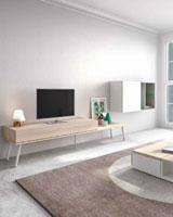 Moderna composición de Salón 20 - Moderna composición de Salón 20, fabricadas en DM y chapado en melamina con efecto natural o en terminaciones lacadas