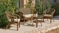Conjunto de sillones de ratán natural - Set de sillones con mesa para exterior.