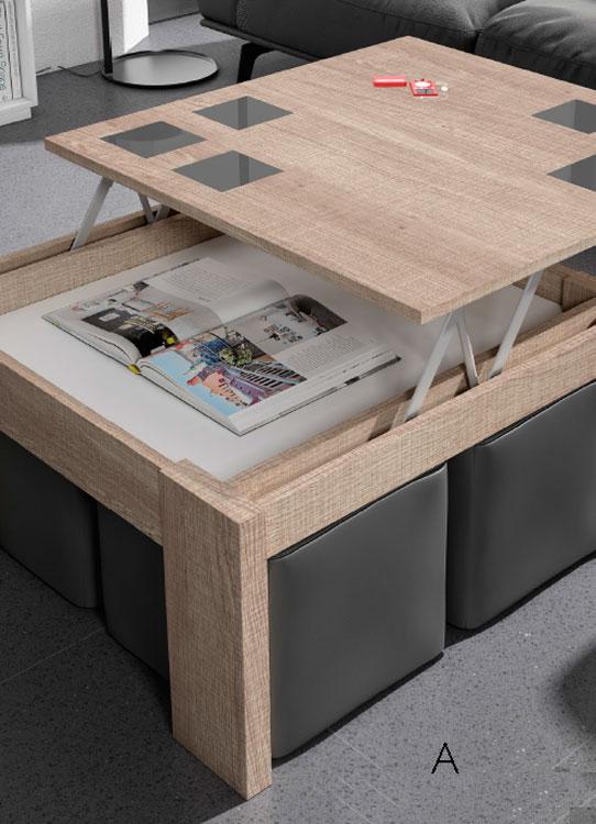 Mesas de centro con tablero elevable c 4 mia home - Mesas salon elevables ...