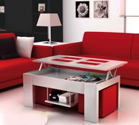 Moderna mesa de baja de salón con tablero elevable - Moderna mesa de baja de salón con tablero elevable, bandeja y puffs
