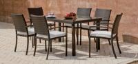 Conjunto de comedor exterior 3 - Mesa de ratán con sillones