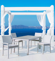 Comedor para ambientes exteriores aluminio y polirattan - Mesa disponible en modelo cuadrado o rectangular