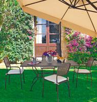 Comedor con estructura de hierro para jardín 3 - Mesa cuadrada o rectangular