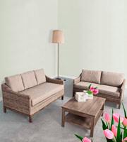 Conjunto salon Sofás y mesa centro 4 - Estructura en madera de Mango, para interiores