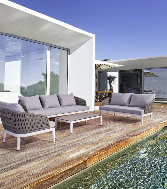 Sofa de exterior Pelican aluminio y ratán sintético - Sofa de exterior Pelican