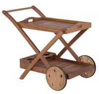 Carro bandeja de madera de Eucalipto - Diseño rústico para exteriores