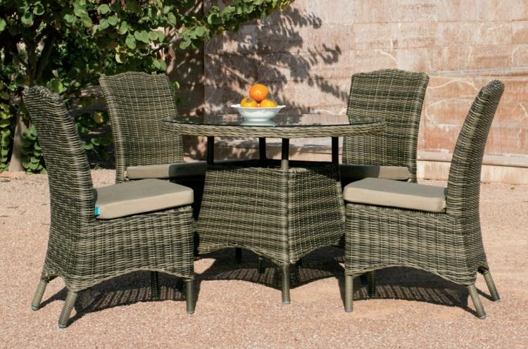 Conjunto mesa pequeña de exterior - Conjunto de comedor circular para exterior con sillones.