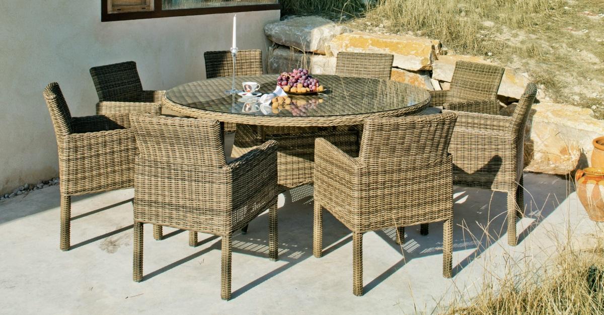 Set de comedor circular exterior con sillas