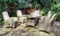 Conjunto mesa de ratán con sillas - Conjunto de comedor para exterior con 4 sillones.
