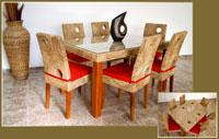 Mesa de comedor o silla en Ratán J-222 - Mesa de comedor o silla en Ratán J-222