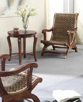 Sillón o mesa de centro en madera y ratan J748/J805 - Sillón o mesa de centro en madera y ratan J748/J805