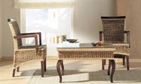 Sillón o mesa de centro en madera y ratan J793/J977 - Sillón o mesa de centro en madera y ratan J793/J977