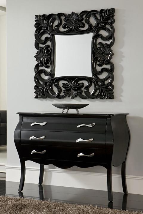 Cómoda 3 cajones - Elegante y original espejo estilo barroco con cómoda a juego