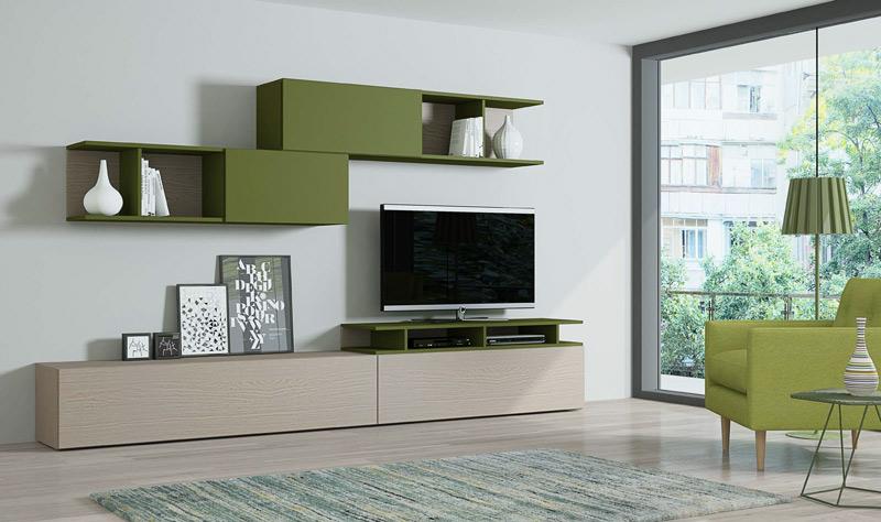 Composición 189 New Live - Composición 189, Composición modular en acabado nogal americano y laca verde mate