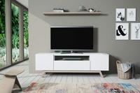 Mesa de TV A33 New Live  - Mesa de TV A33 New Live, Compacto TV en acabado roble nórdico y laca blanco mate.