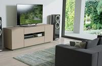 Mesa de TV A34 New Live  - Mesa de TV A34 New Live, Compacto TV en acabado roble nórdico y laca verde mate
