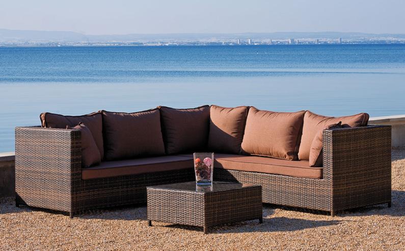 Juego de muebles para exteriores ELOYS - Juego de sofá, sillones y mesa de centro para jardines o terrazas.