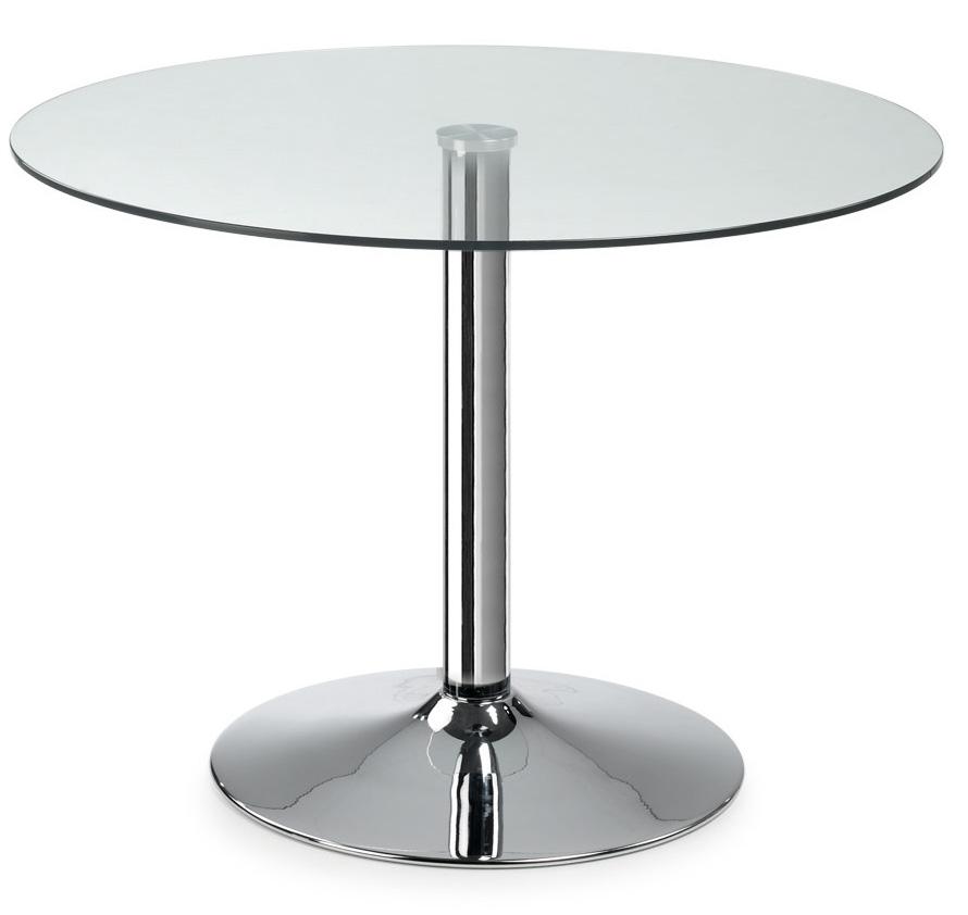 Mesa de cristal transparente redonda patas cromadas for Mesas de comedor redondas de cristal
