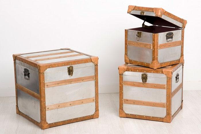 Mia home set 3 baules de madera y aluminio - Baules de madera baratos ...